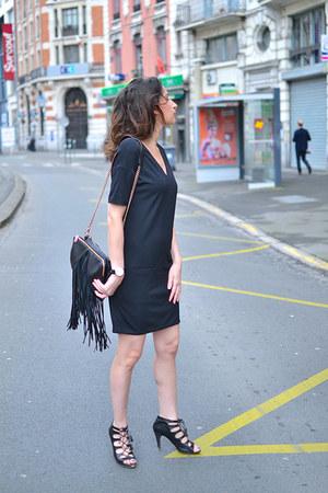 black Wolford dress - black Topshop bag - black Minelli sandals