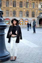 white Zara jeans - gray Zara coat - black Urban Outfitters hat