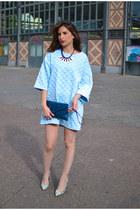 blue Scoop bag - light blue storets dress - silver Mango heels