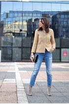 tan Zara jacket - blue Zara jeans