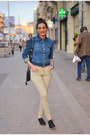 Beige-berenice-jeans-blue-lee-vest-black-stradivarius-flats