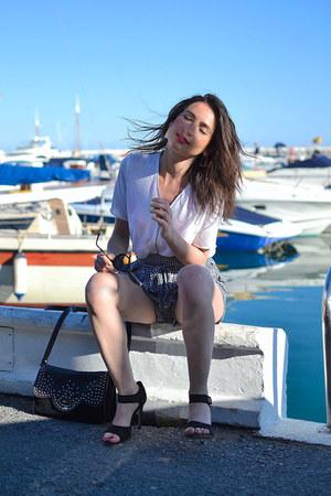 black Lancaster bag - black Mango shorts - white The Kooples blouse