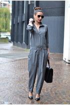 black buylevard bag - charcoal gray Zara jumper - black Mango heels