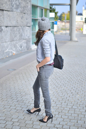 heather gray Zara jacket - heather gray G Star Raw jeans - silver asos hat