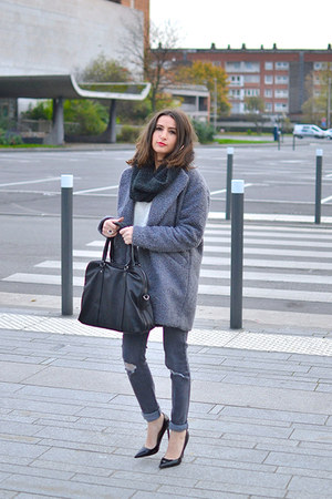 black Loubags bag - charcoal gray asos coat - charcoal gray asos jeans