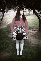 gold watch - black bowler hat H&M hat - red BLANCO sweater - navy H&M skirt