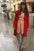 off white Zara belt - red Telva coat - H&M heels