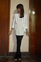 white Zara jacket - white Topshop blouse - black Thrift Store leggings - black J