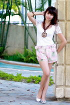 white Zara shirt - pink Topshop shorts - silver CMG shoes - brown accessories