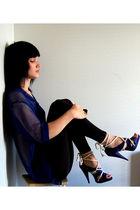 blue H&M shirt - blue - black H&M leggings - blue H&M shoes