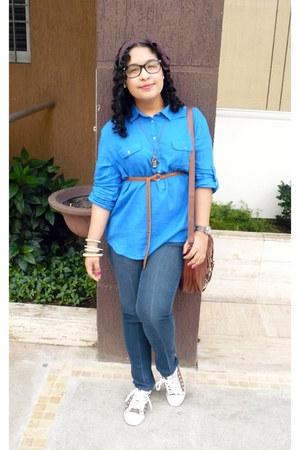 brown bag - blue Zara blouse
