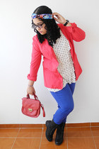red jacket - blue jeans - red Forever 21 bag - white polka dots Naf Naf blouse