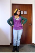 green Bershka cardigan - purple shirt - yellow t-shirt - blue Just Usa jeans - b
