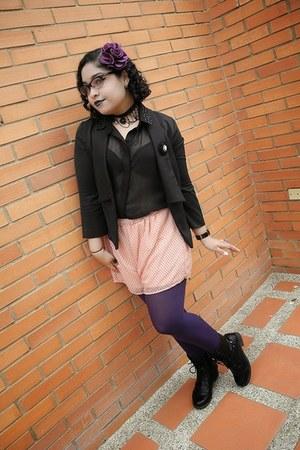 black Siberian boots - black Aishop blazer - purple balu tights