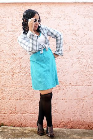 blue Pima cotton dress - blue shirt - black tights - brown shoes - white sunglas