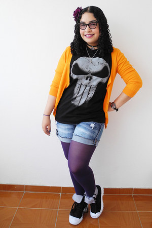 purple tights - blue shorts - black Marvel t-shirt - orange Zara cardigan