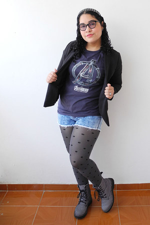 black Aishop blazer - charcoal gray Marvel shirt - silver Forever 21 tights