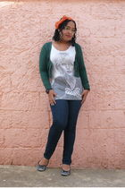 green Bershka cardigan - white Hot Topic t-shirt - black shoes - blue jeans - or