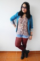 blue blazer - black boots - maroon tights - sky blue shorts - light pink blouse