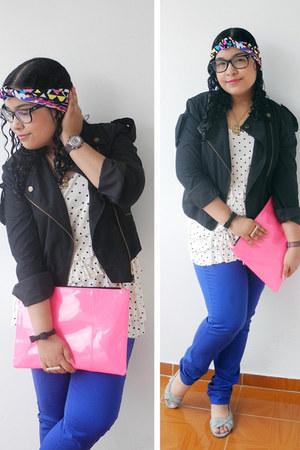 Bershka purse - jacket - pants - polka dots Naf Naf blouse