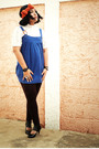Blue-pima-cotton-dress-white-blouse-brown-leggings-black-shoes-blue-dos-