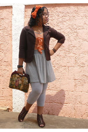 orange dress - brown Naf Naf blazer - gray Bershka leggings - brown shoes - oran