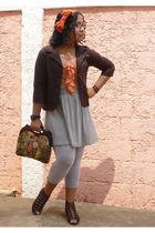 orange dress - brown Naf Naf blazer - gray Bershka leggings - brown shoes - oran