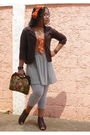 Orange-dress-brown-naf-naf-blazer-gray-bershka-leggings-brown-shoes-oran