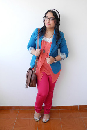 hot pink jeans - blue blazer - dark brown bag - salmon blouse