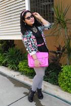 black coat - heather gray tights - hot pink bag