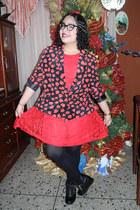 black boots - ruby red dress - ruby red blazer - black tights