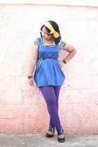 white top - blue Pima Cottom dress - purple leggings - black shoes - yellow Pepe