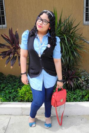 red Forever 21 bag - blue leggings - black vest - sky blue blouse
