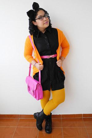 black boots - black dress - gold Zara tights - hot pink bag - orange cardigan
