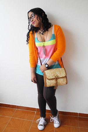 light brown Bershka bag - dark brown Naf Naf leggings