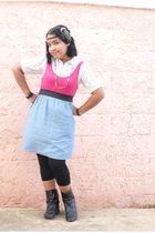 white blouse - pink dress - black leggings - black Forever 21 boots - green 2 pt