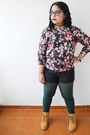 Mustard-boots-dark-green-tights-dark-gray-shorts-brick-red-blouse