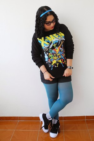 black Forever 21 sweater - sky blue tights - gray True Addiction shorts