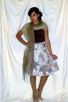 brown - green thrifted scarf - green fishnet tights - floral skirt - beige blaze