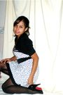 White-thirfted-dress-black-dots-shops-black-target-stockings-black-shoes-