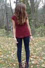 Black-maroon-laces-boots-navy-jeggings-jeans-crimson-lace-shirt
