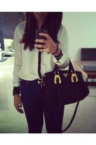 blue Zara jeans - gold Prada bag - white H&M blouse