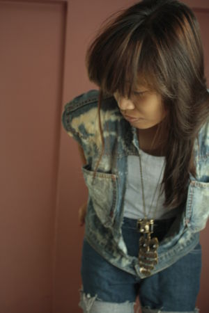 blue DIY vest - blue DIY shorts - brown necklace - brown necklace