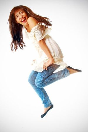 black socks - blue jeans - white blouse
