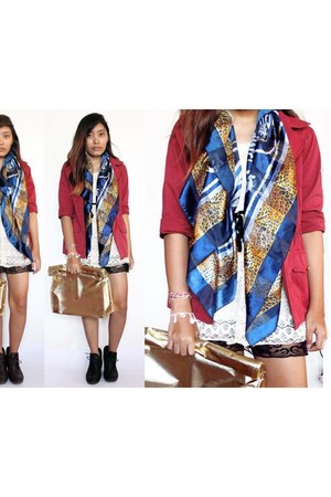 ivory lace dress - brick red Nava blazer - navy vintage scarf