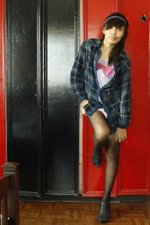 blue blouse - pink top - black shoes - black stockings