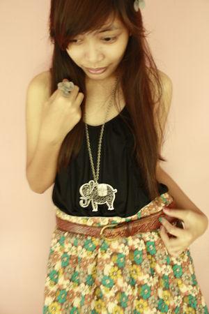 black dress - beige skirt - silver accessories - brown belt