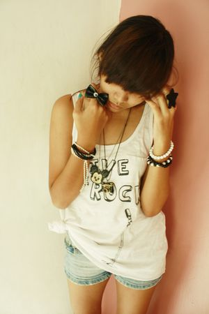 white Just G top - blue shorts - black accessories - white accessories