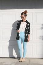 white collared blouse - glasses - light blue pants - black cross cardigan