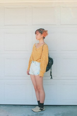 mustard thrifted sweater - black tassel bag - light blue shorts - cream flats